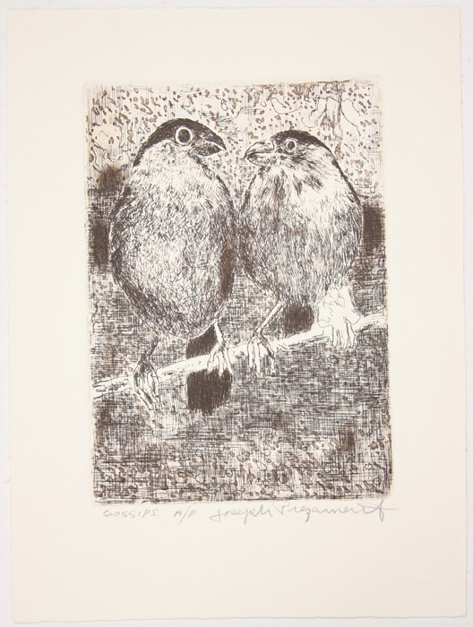 "Etching, ""Gossips"",  [between 1979 and 1982]. Joseph Prezament. Jewish Public Library Archives, 1291_00055."