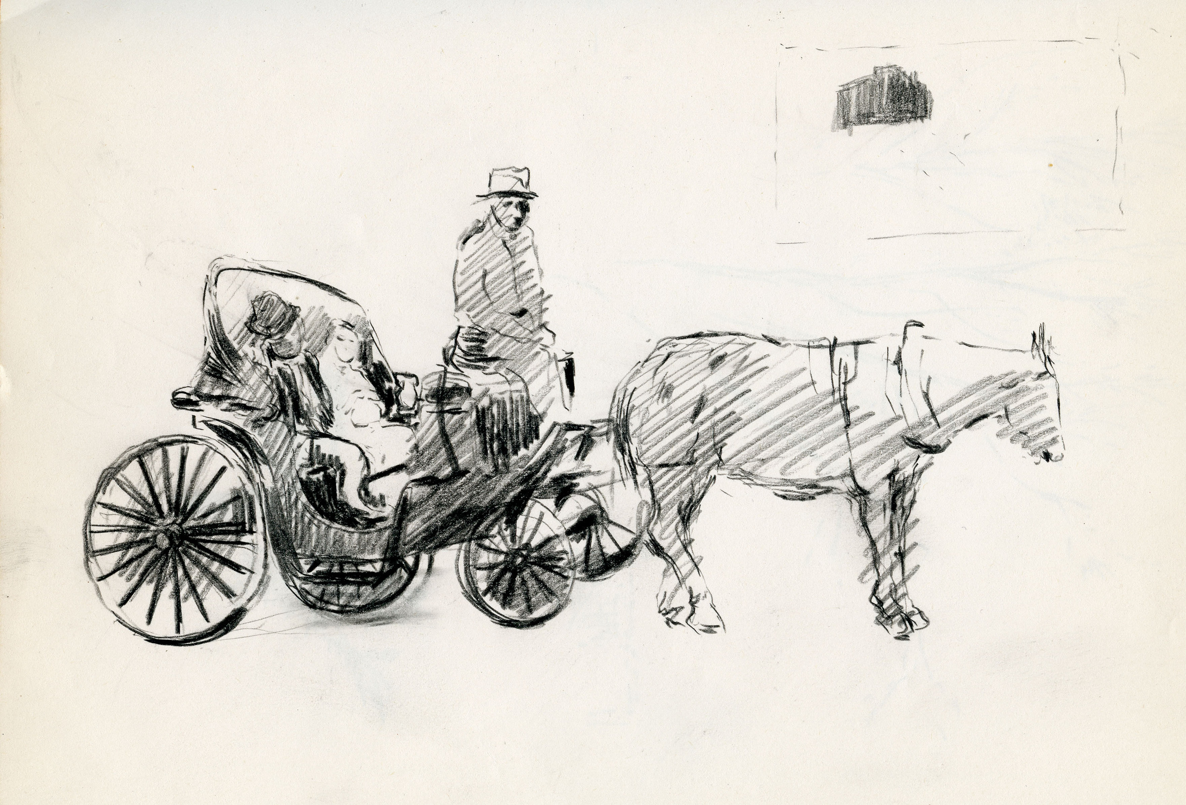 "Sketchbook excerpt, ""Untitled"", [ca.1955]. Joseph Prezament. Jewish Public Library Archives, 1360_00006_8."