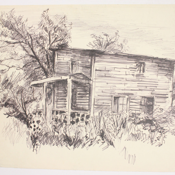 "Drawing, ""Country house exterior"", [between 1960 and 1980]. Joseph Prezament. Jewish Public Library Archives, 1360_00146."