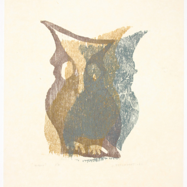 "Etching, ""Hibou"",  1961. Joseph Prezament. Jewish Public Library Archives, 1291_00119."