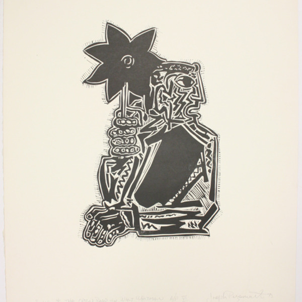 """Print, """"Song of the Open Road by Walt Whitman"""", 1973. Joseph Prezament. Jewish Public Library Archives, 1360_00157."""