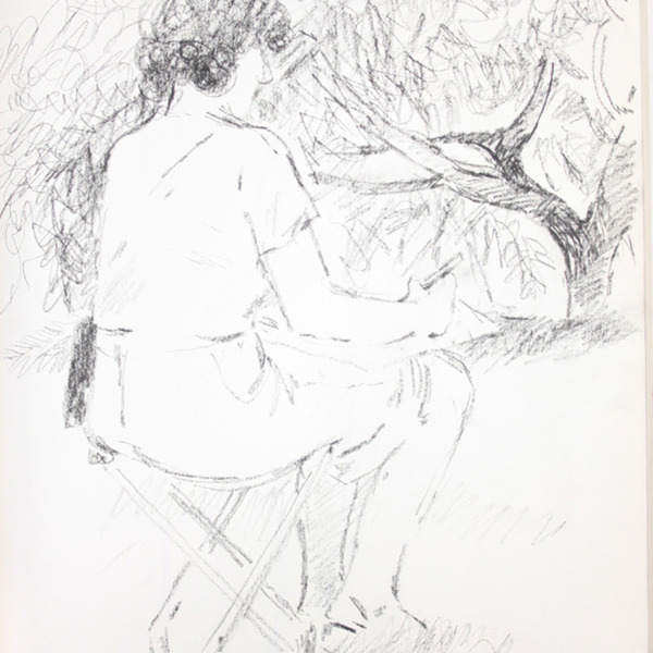 "Sketchbook excerpt, ""1982, Models, Harold, Julia, apple trees"", 1982. Rita Briansky. Jewish Public Library Archives, 1291_00077_10."