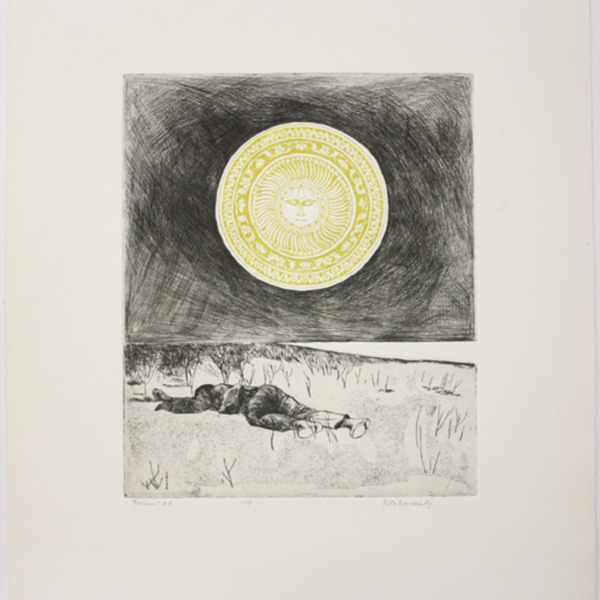 """Etching, """"Sonnet 25,"""", 1972. Rita Briansky. Jewish Public Library Archives, 1291_00345."""