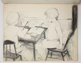 "Sketchbook excerpt, ""Joe, Anna, children"", 1959. Rita Briansky. Jewish Public Library Archives, 1291_00046_13."