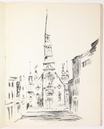 "Sketchbook excerpt, ""Untitled"", [ca.1955]. Joseph Prezament. Jewish Public Library Archives, 1360_00006_3."