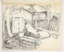 "Sketchbook excerpt, ""Untitled"", 1949. Joseph Prezament. Jewish Public Library Archives, 1360_00003_8."