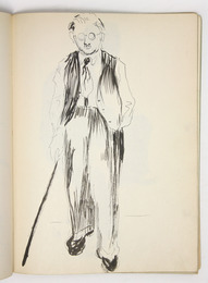 "Sketchbook excerpt, ""Untitled"", [ca. 1947-1948]. Joseph Prezament. Jewish Public Library Archives, 1360_00002_8."