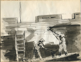 "Sketchbook excerpt, ""Untitled"", 1950-1951. Joseph Prezament. Jewish Public Library Archives, 1360_00005_36."