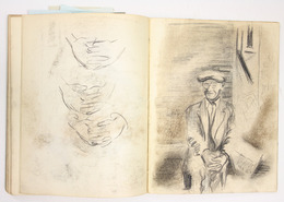 "Sketchbook excerpt, ""Untitled"", 1949. Joseph Prezament. Jewish Public Library Archives, 1360_00003_10."