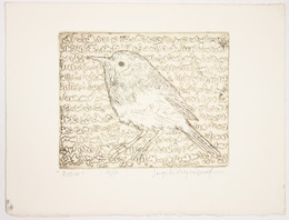 "Screenprint, ""Robin"", [between 1979 and 1982]. Joseph Prezament. Jewish Public Library Archives, 1291_00049."