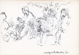 "Sketchbook excerpt, ""Mount Royal & Sutton"", 1987. Rita Briansky. Jewish Public Library Archives, 1291_00038_2."