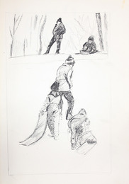 "Sketchbook excerpt, ""Mane, Shane, studies for etchings, empty sheets"", 1974. Rita Briansky. Jewish Public Library Archives, 1291_00076_8."