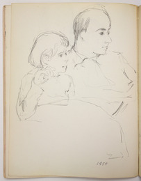 "Sketchbook excerpt, ""Joe, Anna, children"", 1959. Rita Briansky. Jewish Public Library Archives, 1291_00046_9."