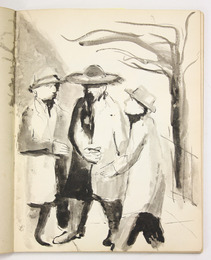 "Sketchbook excerpt, ""Untitled"", 1950-1951. Joseph Prezament. Jewish Public Library Archives, 1360_00005_4."