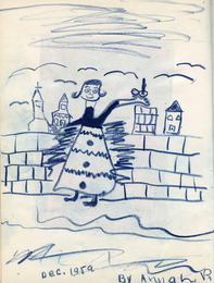 Sketchbook excerpt, [Drawing by Anna], 1959. Joseph Prezament. Jewish Public Library Archives, 1360_00006.