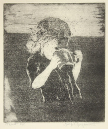 "Etching, ""Thirst"", [ca. 1960]. Joseph Prezament. Jewish Public Library Archives, 1291_00072."
