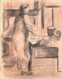 "Sketchbook excerpt, ""Untitled"", 1949. Joseph Prezament. Jewish Public Library Archives, 1360_00003_7."