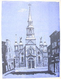 "Screen print. ""Commons Streets with Sailors Church"", [between 1960 and 1980]. Joseph Prezament. Jewish Public Library Archives, 1360_00140."
