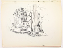 "Sketchbook excerpt, ""Untitled"", [ca.1955]. Joseph Prezament. Jewish Public Library Archives, 1360_00006_2."